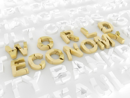 World economy crisis 3d broken words Stock Photo - 12639462