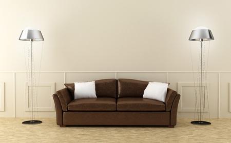 Leather modern sofa in luminous home room Archivio Fotografico