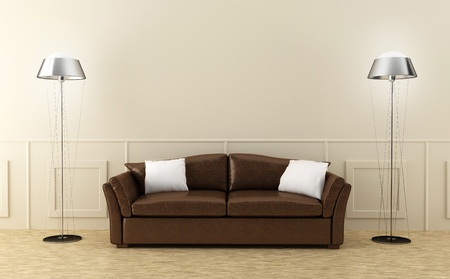 luminous: Leather modern sofa in luminous home room Stock Photo