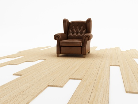 Brown leather classic armchair on parquet floor