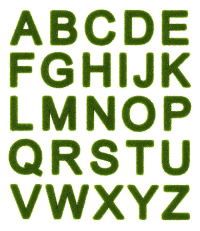 Capital letters of the alphabet made of grass