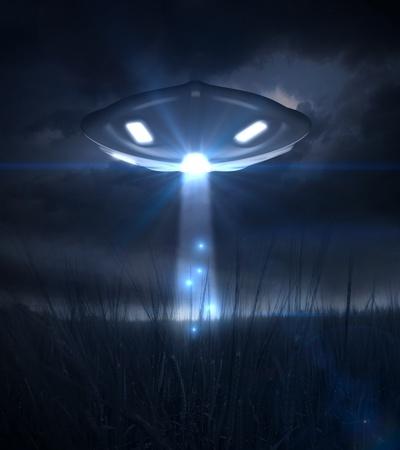 Spacecraft illuminates a field of grain during the night