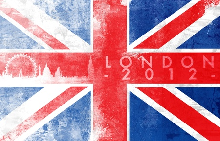 United kingdom painted flag with London skyline