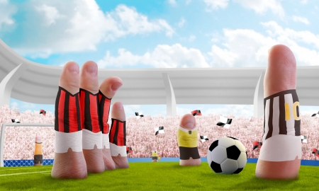 barrier free: Soccer stadium with the fingers that are the players