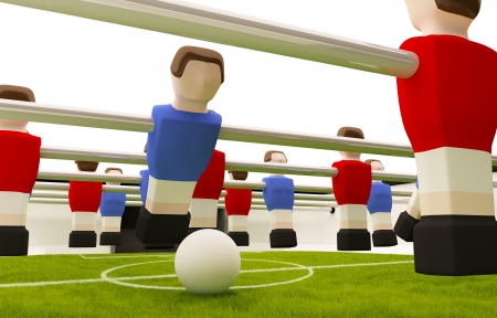 Tabla partido de f�tbol los jugadores rojos contra azules Foto de archivo - 13626301