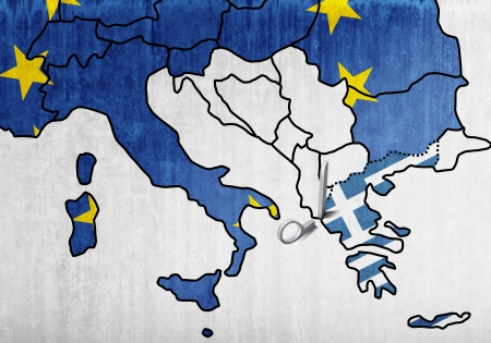 The European map with the scissors that cut Greece Stock Photo - 13693393