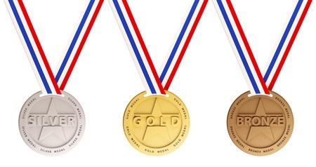 Drei Medaillen, Gold, Silber und Bronze für die Sieger Standard-Bild - 13734813