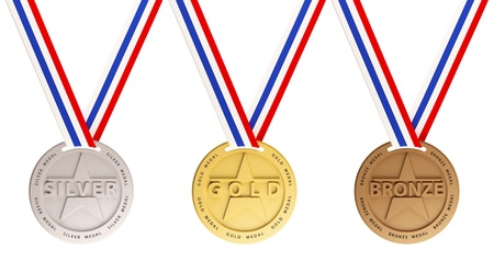 Three medals, Gold, Silver and bronze for the winners Stock Photo