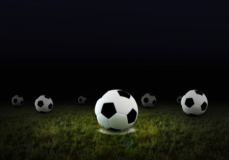soccer fans: Soccer ball on penalty disk, illuminated from a light beam
