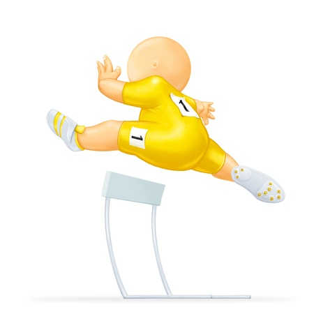hurdles: caricaturizes runner who jumps the hurdles in the athletics sport Stock Photo