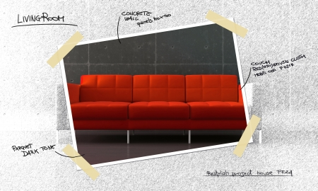 Red sofa in modern room with parquet and concrete wall project photo