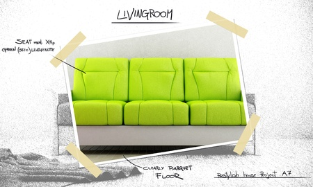 Green modern sofa for project restiling livingroom photo
