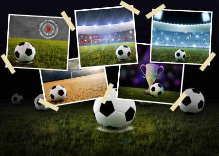 サッカー件名と写真印刷のコラージュ