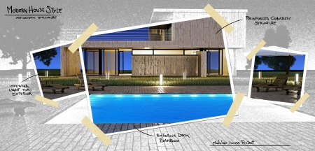 Modern house with swimming pool project photo