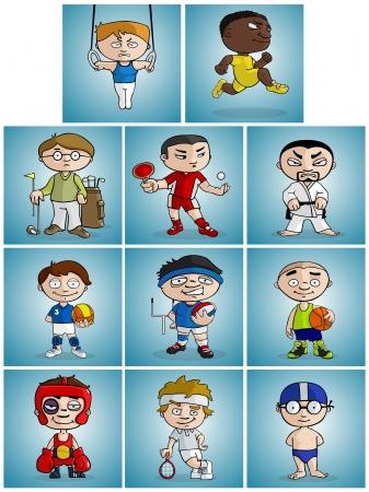 judo: athletes of various sport disciplines cartoon style illustrated