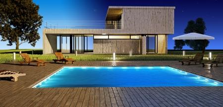 бассейн: Современный дом с бассейном плаванием день и ночного видения