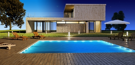 house render: Modern house with swimming pool day and night vision Stock Photo