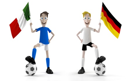 Italian and german smiling cartoon style soccer player with ball and flag photo
