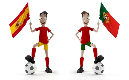 spanish fan: Spanish and Portuguese Smiling cartoon style soccer player with ball and Spain flag