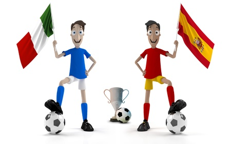 Italian and Spanish smiling cartoon style soccer player with ball and flag photo
