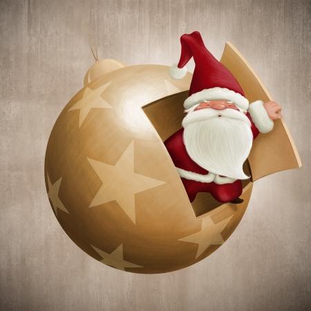 Santa Claus inside the decorative ball illustration Archivio Fotografico