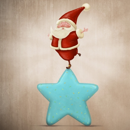 Santa Claus equilibrist on a sweet candy star