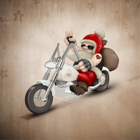 Santa Claus rides a motorcycle for delivery the gifts Imagens