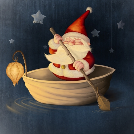 Santa Claus rows in a walnut shell Stock Photo