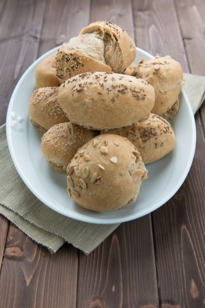 heathy diet: Homemade rustic bread with sesame, cumin, fennel and more seeds Stock Photo