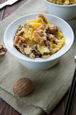 İtalyan mutfağı: Bowl of pasta with walnuts italian cuisine Stok Fotoğraf