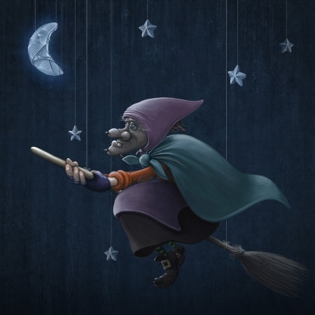 Ephiphany rides a broom in a starred sky Stock Photo