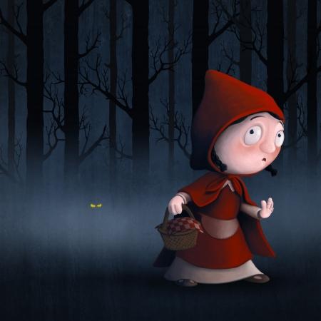 little red riding hood: Caperucita Roja en un bosque con el lobo