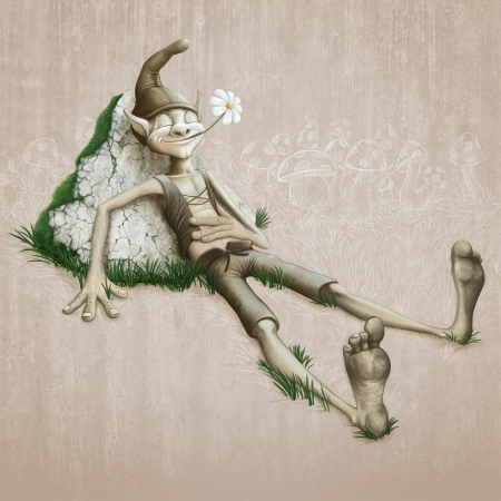 creature of fantasy: The happy elf relaxing in the meadow