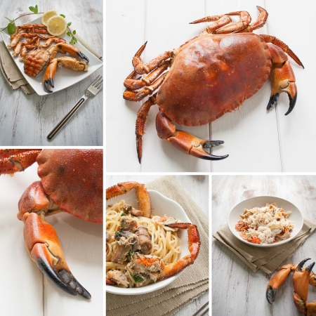 nipper: Composition with crab raw and prepared to meal Stock Photo