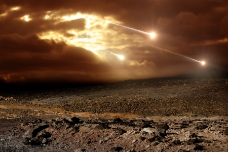 meteor: Einige Meteoriten regen vom Himmel durch die Wolken