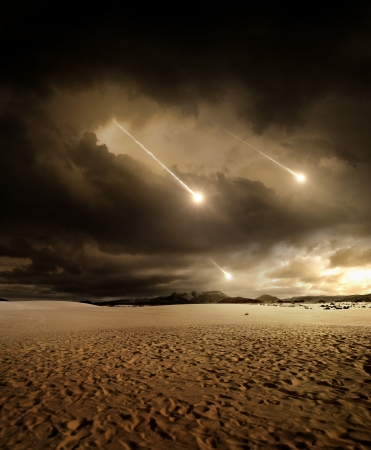 Some meteors rain from the sky through clouds