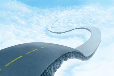 Road suspended in the sky over the clouds