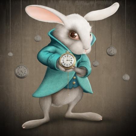 conejo: Elegancias Conejo blanco indica el reloj - ilustraci�n Foto de archivo