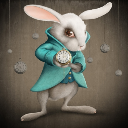 surrealistic: White Elegances rabbit indicates the clock - illustration