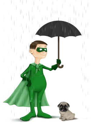 endearment: The super Normal hero protect the small dog from the rain Stock Photo