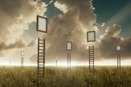 Many stairways in a meadow to suspended frame Stock Photo - 19402024