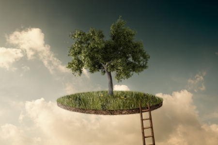 go up: Suspended land with a single tree and a stairway to go up