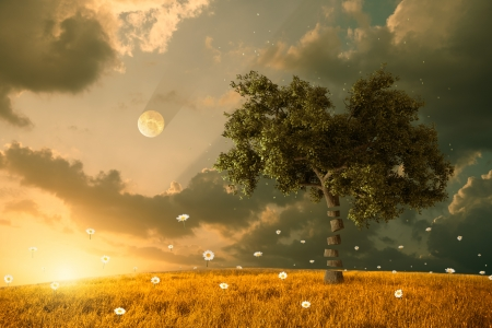 The unreal fantastic land with flying flowers and tree Stock Photo