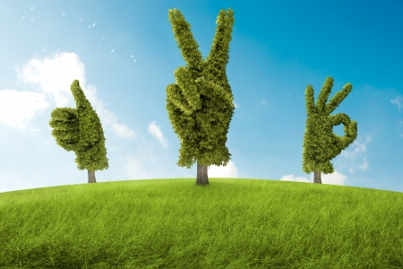 Stromy ve tvaru ruky, že před pozitivním gestem