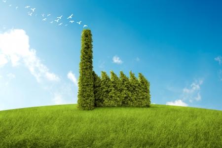respeto: edificio industrial con la forma de un arbusto para el tema ambiental Foto de archivo