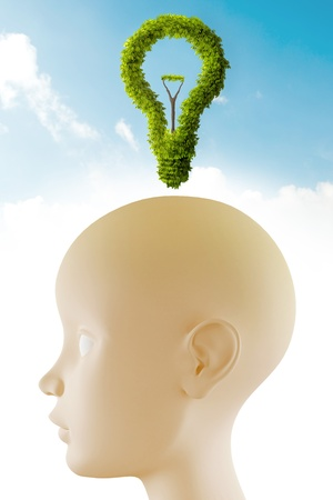 positive thought: Neutral head profile with light bulb leaf shape Stock Photo