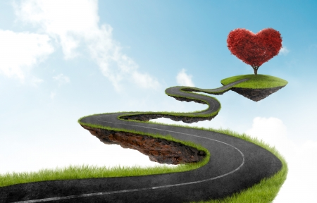 fantasy landscape: road suspended in the sky towards the tree in the shape of heart Stock Photo