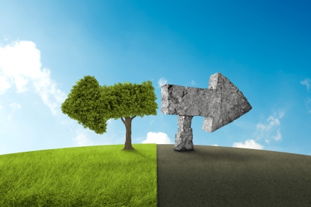 Conceptual image for choose green of nature or gray to concrete Standard-Bild