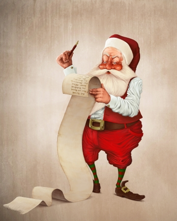 Santa Claus and the list of gifts photo