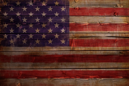timbered: Old United States of America flag painted on wood aces